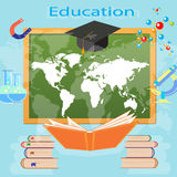 Education background infographics open book of knowledge school blackboard effective education  illustration Royalty Free Stock Photo