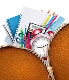 Education background with school supplies and open zipper Stock Photos