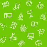 Education, background, seamless, single color, green. Vector seamless pattern of linear icons to the theme of education and learning Royalty Free Stock Images