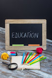 Education background with special school supplies, end of holida Royalty Free Stock Photo