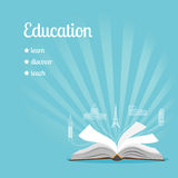 Education background with text. Learn, discover, teach vector illustration Royalty Free Stock Photos