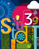 Education Banner  eps10 illustration. Creativity at education text concept colorful abstract elements composition Stock Photos
