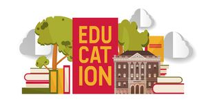 Education banner, poster vector illustration. Pile of books. Knowledge, learning. School, college or university building. Education banner, poster vector stock illustration