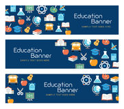 Education Banners. E-learning, school activities. Flat design style Stock Image