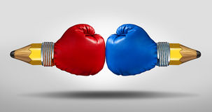 Education Battle. Concept as two pencils with boxing gloves fighting for opposing learning and school curriculum ideology Royalty Free Stock Images