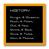 Education black board history. A school education chalk black board or blackboard with the history and sub heads chalked on it with a tan frame and grey shadow Stock Photo