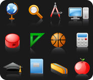 Education black icon set. Royalty Free Stock Image