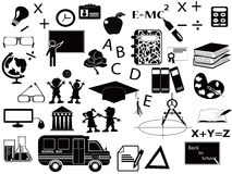 Education black icon set Stock Image