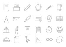Education black icons set. Set of 24 Education black icons Stock Images