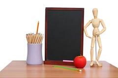 Education  board pencil,teacher and apple art  on  . Royalty Free Stock Photos