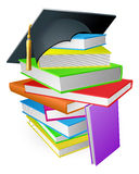 Education book pile graduation hat concept Stock Images
