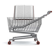 Education book in shoping cart on white Stock Photography