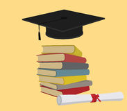 Education with book stack and graduate graduation cap Stock Image