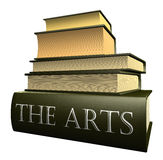 Education books - the arts. Five thick old education books on pile Stock Image