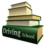 Education books - driving school. Five thick old education books on pile Stock Photos