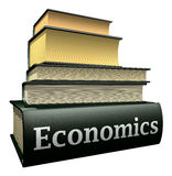 Education books - economics. Five thick old education books on pile Royalty Free Stock Images