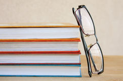 Education. Books and Glasses Stock Photo