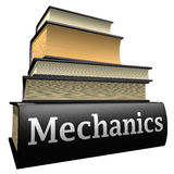 Education books - mechanics. Five thick old education books on pile royalty free illustration