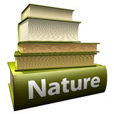 Education books - nature. Five thick old education books on pile Stock Images