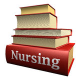 Education books - nursing. Five thick old education books on pile Royalty Free Stock Images