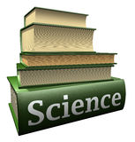 Education books - science. Five thick old education books on pile Royalty Free Stock Photos