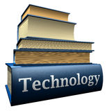 Education books - technology. Five thick old education books on pile Stock Photos