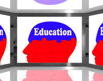 Education On Brain On Screen Shows Human Learning. And Teaching Royalty Free Stock Image