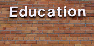 Education on a Brick Wall. The word education on a brick wall Royalty Free Stock Image
