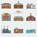 Education buildings set. Stock Image