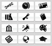 Education Button Set - Black and White Royalty Free Stock Photo