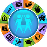 Education Button Set - Wheel Stock Image
