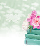 Education card. Pink peonies and green books on the light flower background Stock Photo