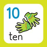 Card for learning to count from 1 to 10. Education. Education card 10. Warm gloves with ten fingers for learning counting from 1 to 10. Childrens vector Royalty Free Stock Image