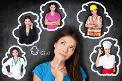 Education and career - student thinking of future. Education and career choice options - student thinking of future. Young Asian woman contemplating career Stock Image