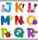 Education Cartoon Alphabet Letters for Kids. Cartoon Illustration of Funny Capital Letters Alphabet with Objects for Language and Vocabulary Education for Stock Illustration