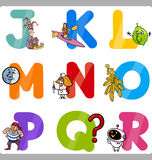 Education Cartoon Alphabet Letters for Kids Stock Photography