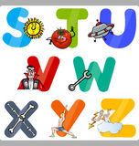 Education Cartoon Alphabet Letters for Kids Royalty Free Stock Images