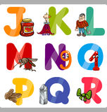 Education Cartoon Alphabet Letters for Kids Stock Photos