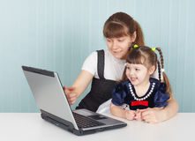 Education of child work with computer Royalty Free Stock Photo