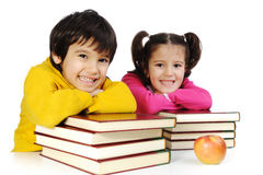 Education, children, happiness. Kids with books Royalty Free Stock Photo