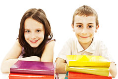 Education, children, happiness, with colored book. Royalty Free Stock Photo