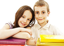 Education, children, happiness, with colored book. stock photo
