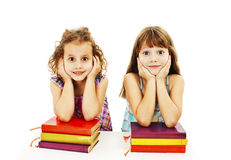 Education, children, happiness, with colored book Royalty Free Stock Photo