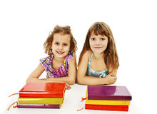 Education, children, happiness, with colored book Stock Images