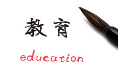 Education in Chinese. Chinese Calligraphy on white paper:education Royalty Free Stock Photography