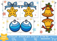 Education Christmas Paper Crafts for children, Christmas toys. Education Christmas Paper Crafts for children, Christmas bell, Christmas ball and Christmas star vector illustration