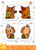 Education Christmas Paper Crafts for children, Dog and Cat. Use scissors and glue to create the image Royalty Free Stock Images