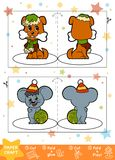 Education Christmas Paper Crafts for children, Dog and Mouse. Use scissors and glue to create the image Royalty Free Stock Photography