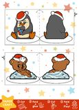 Education Christmas Paper Crafts for children, Penguin and Bear. Use scissors and glue to create the image stock illustration