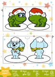 Education Christmas Paper Crafts for children, Rabbit and Frog. Use scissors and glue to create the image Royalty Free Stock Photo